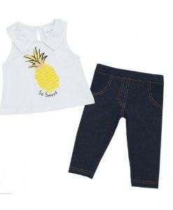 babykleding set denim ananas